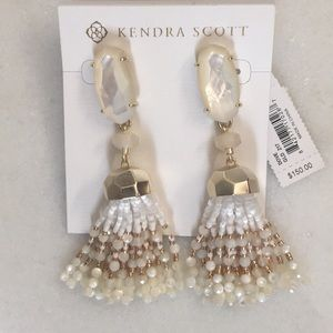 Kendra Scott cream and gold tassel earrings